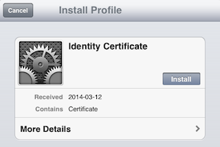 Installing a certificate onto an iOS device